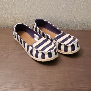 Womens Striped Boat Shoes Flats Navy Cream Canvas